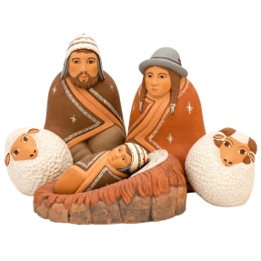 rounded ceramic nativity