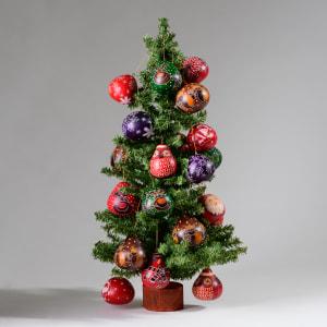 handmade ornaments on tree