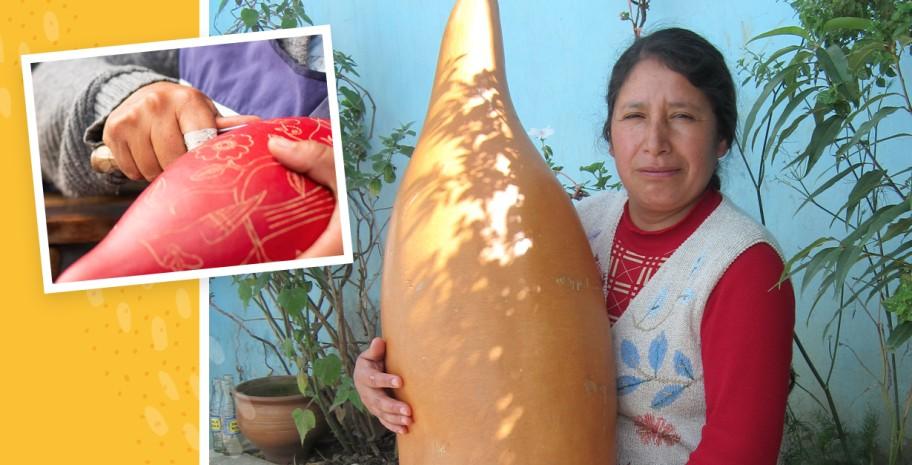 Raquel, Peruvian gourd carver