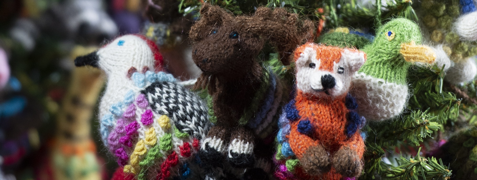 knitted alpaca wool ornaments