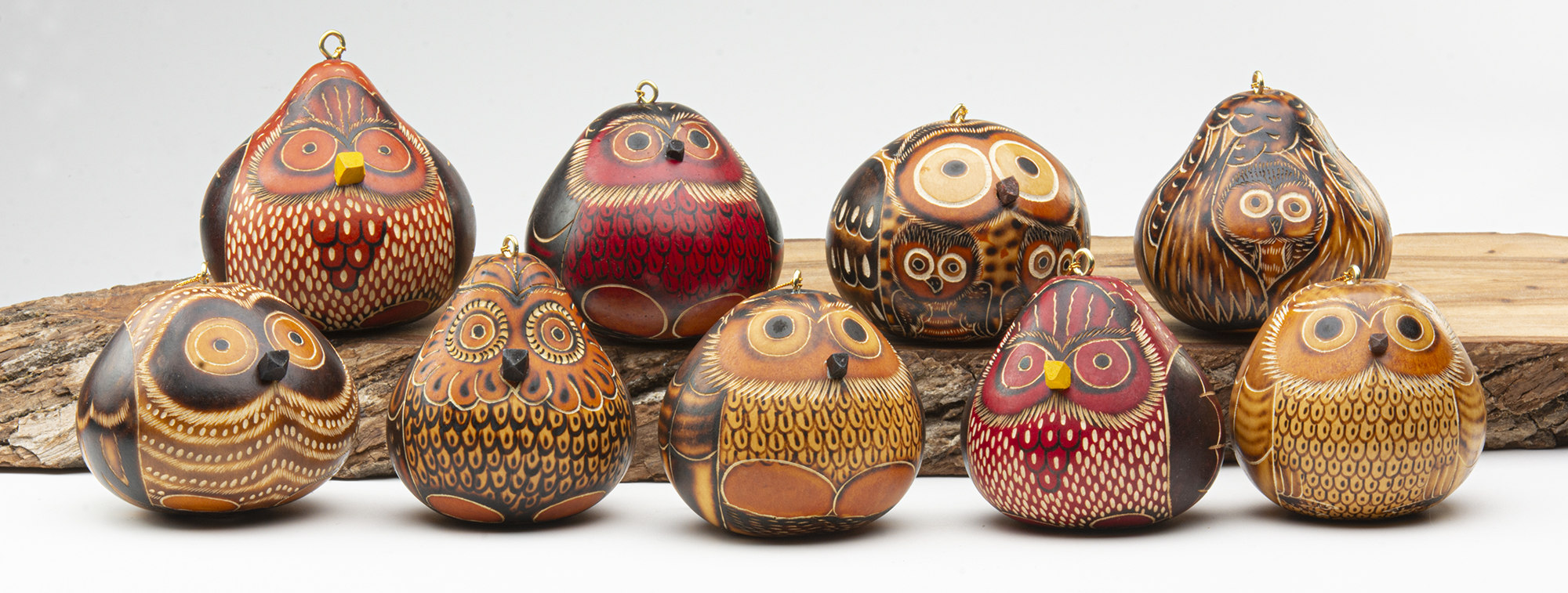 gourd ornaments owl mix