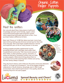 Organic Cotton Finger Puppets Story Sheet