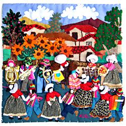 Fiesta 3D Arpillera Art Quilt