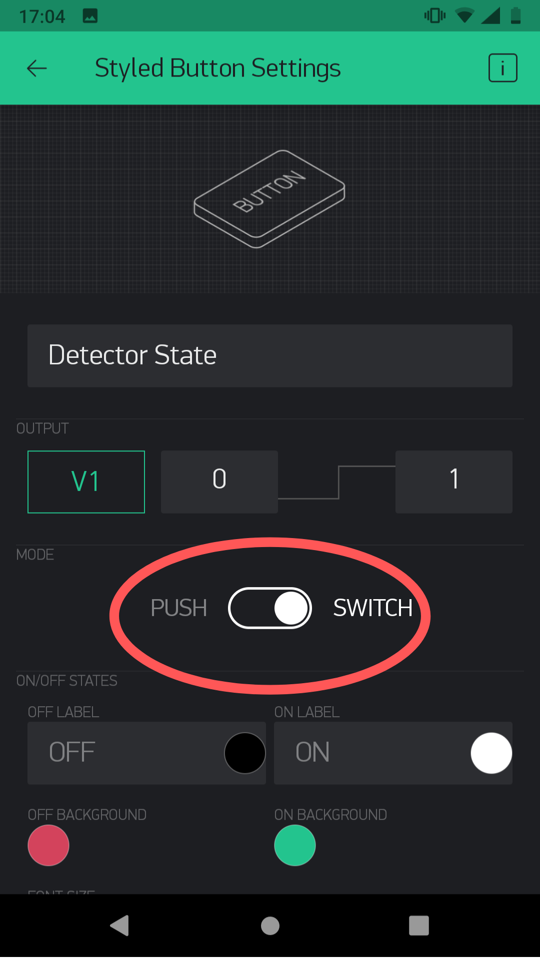 Settings of styled button in Blynk App