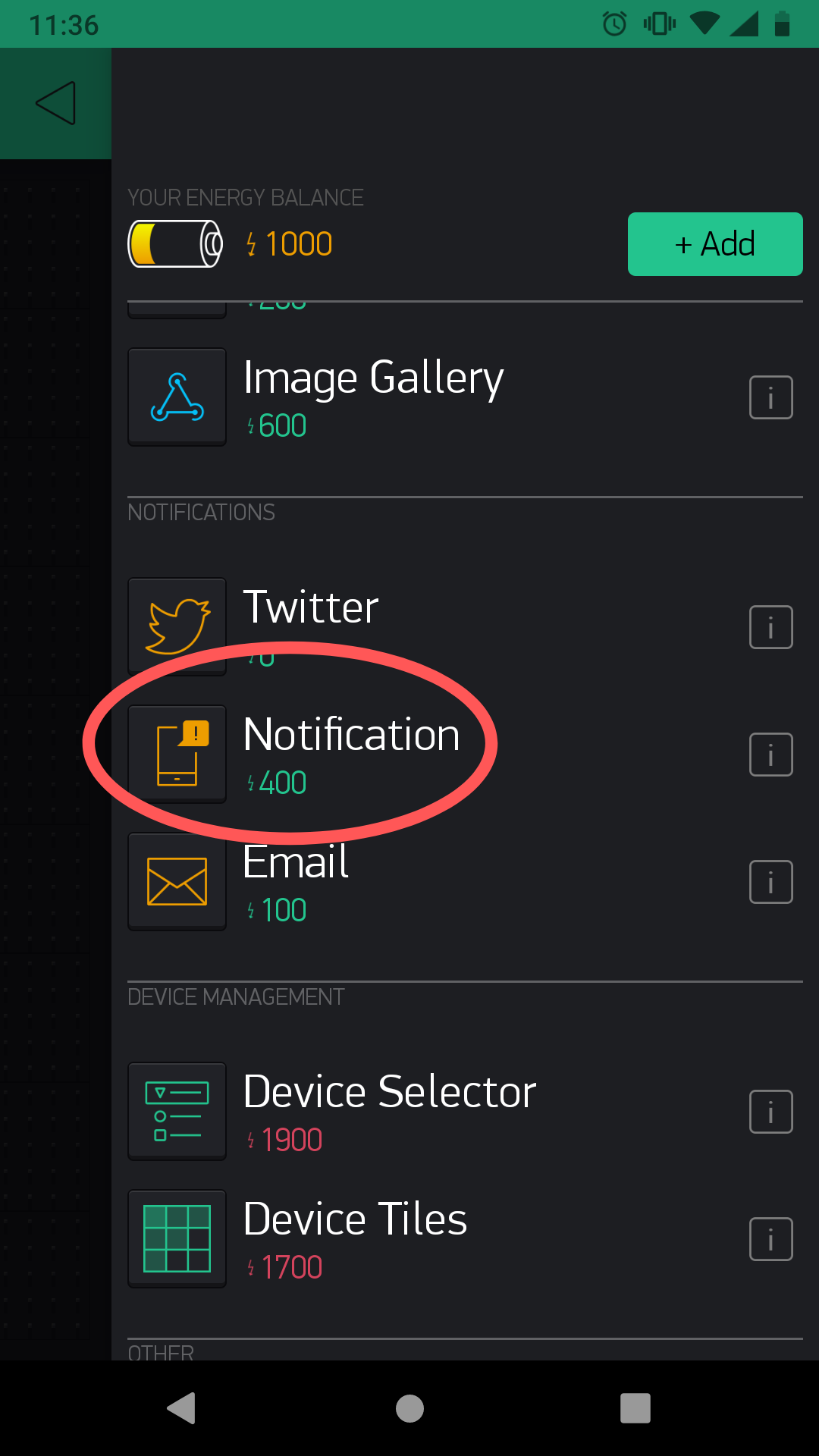 Add Blynk Notify widget