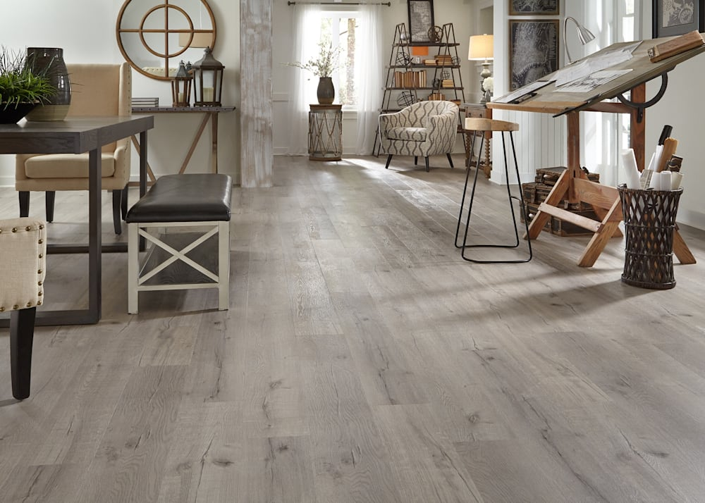 7mm+pad Driftwood Hickory Rigid Vinyl Plank Flooring 7 in. Wide x 48 in. Long