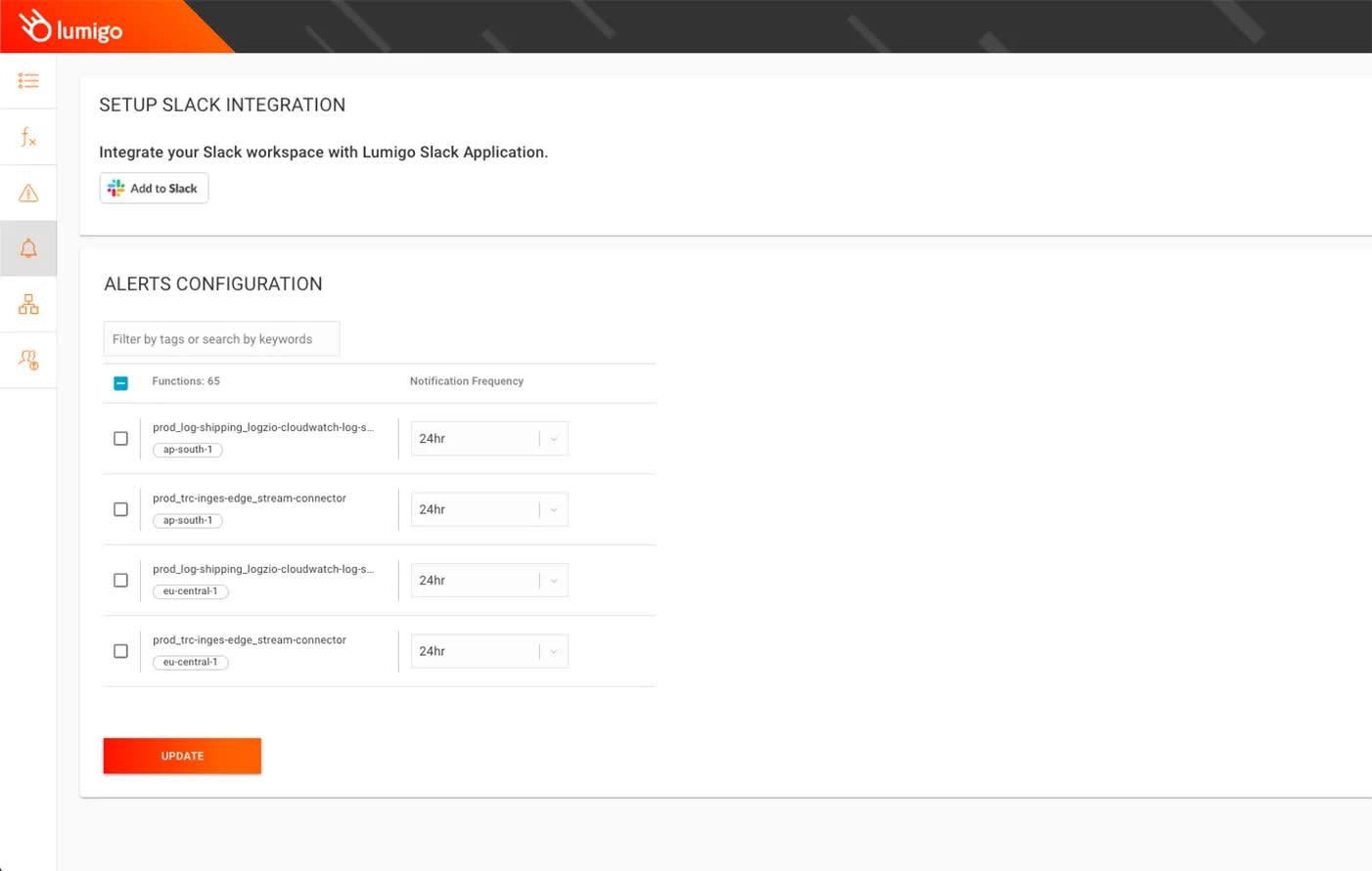 The Lumigo platform makes it easy to set up alerts.