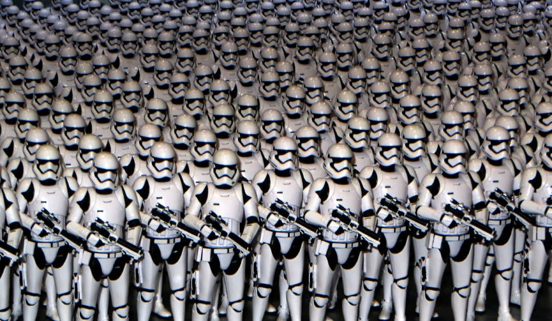 Cloned Stormtroopers representing concurrent Lambda functions