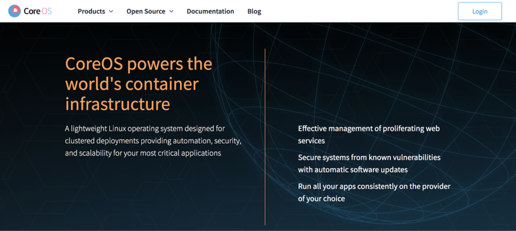 "The website of CoreOS, which ""powers the world's container infrastructure"""