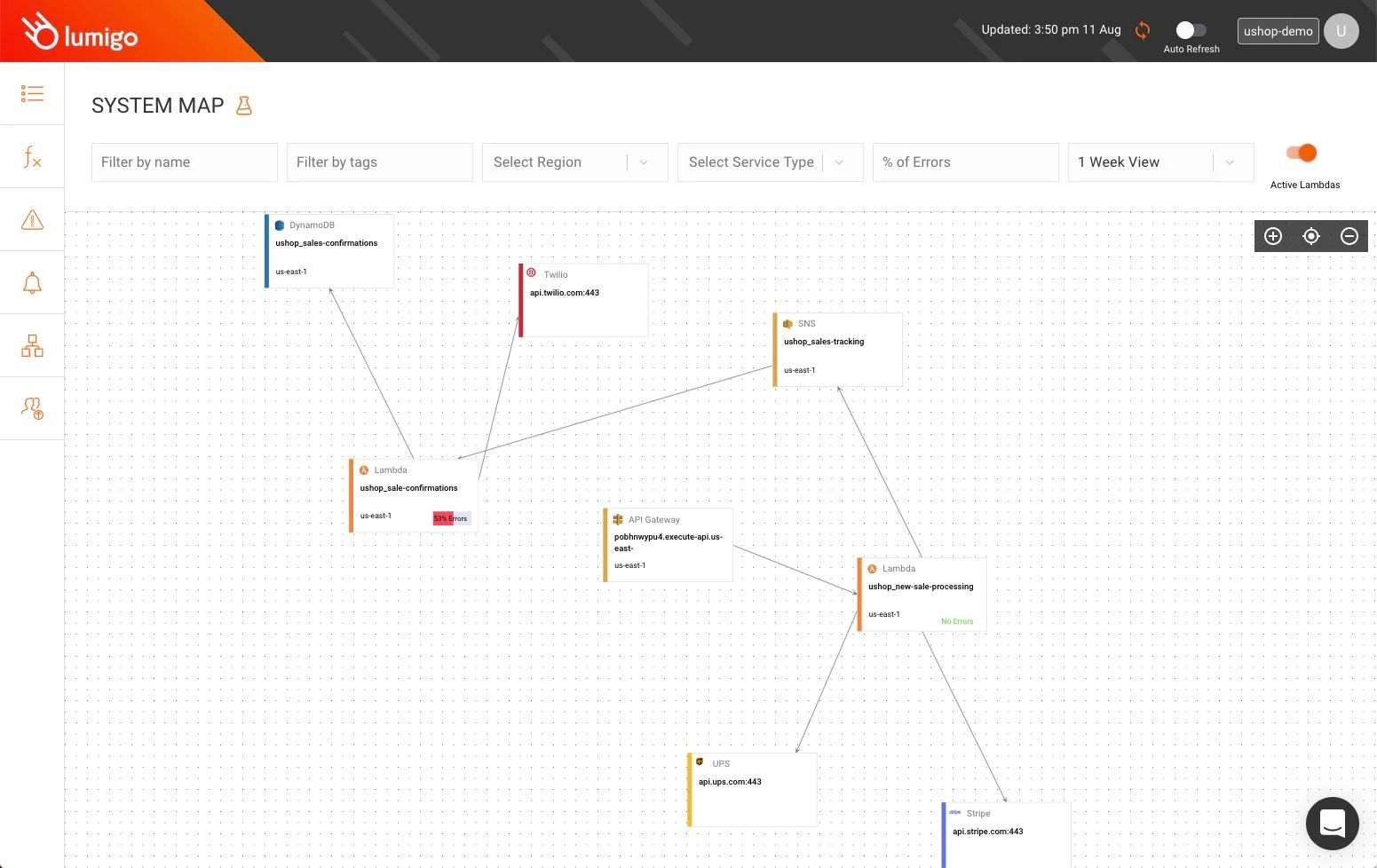 The Lumigo architecture map is updated in real time.