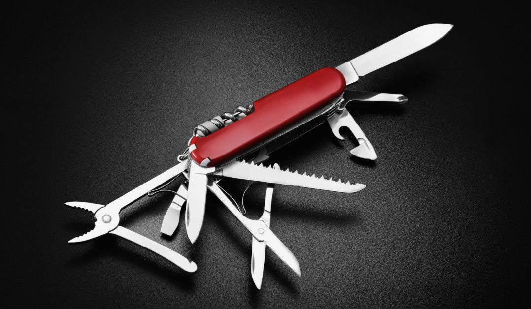 A Swiss Army Knife representing developer serverless open source tooling