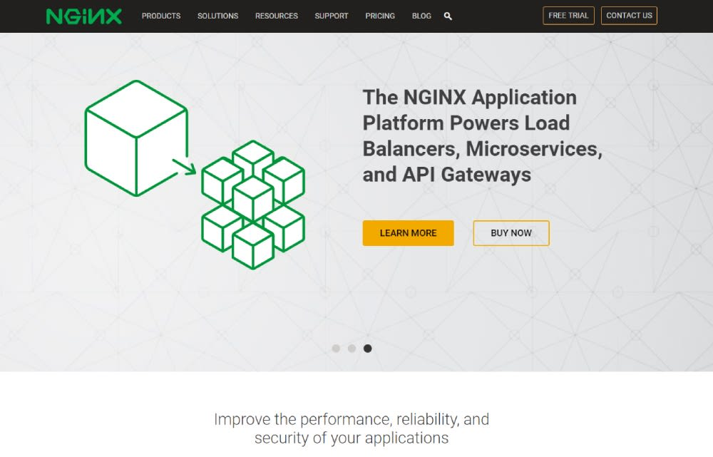 An image of the homepage for web server, NGINX.