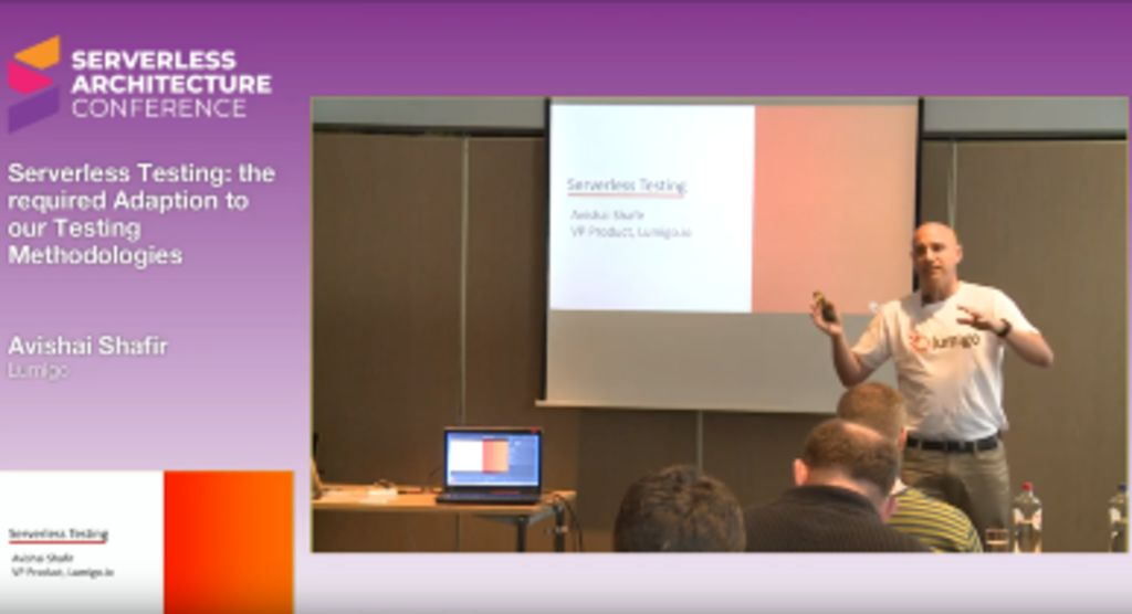 Lumigo VP Product Avishai Shafir speaking at the Serverless Architecture Conference, The Hague, 9 April 2019.