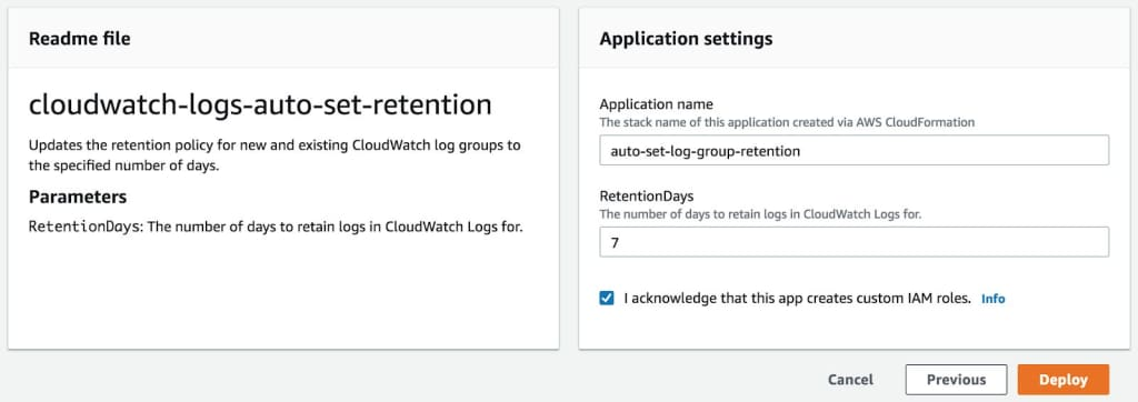 For these functions to work, you just need to set how many days you'd would like to keep the logs in CloudWatch Logs.