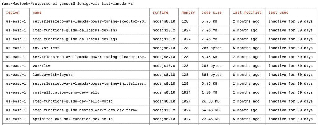 By using the -i flag you can view only those Lambdas that have been inactive for the past 30 days or more.