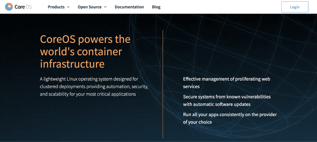 """The website of CoreOS, which """"powers the world's container infrastructure"""""""