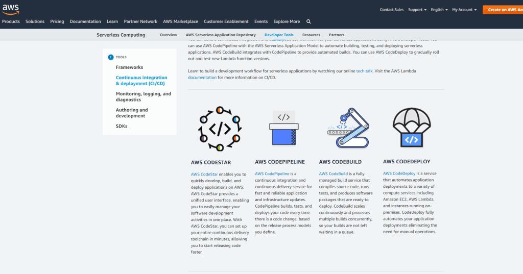 A screenshot of the AWS Serverless Application Developer Tools Compendium