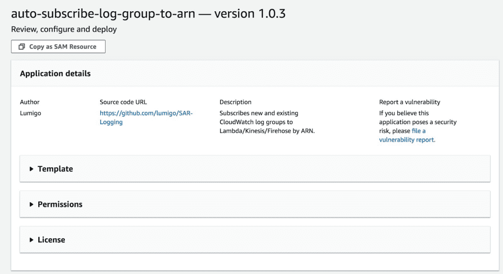 Details of the auto-subscribe-log-group-to-arn tool from Lumigo