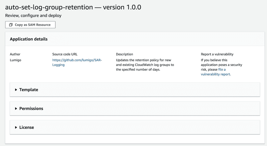 Details of the second open source SAR tool, auto-set-log-group-retention.