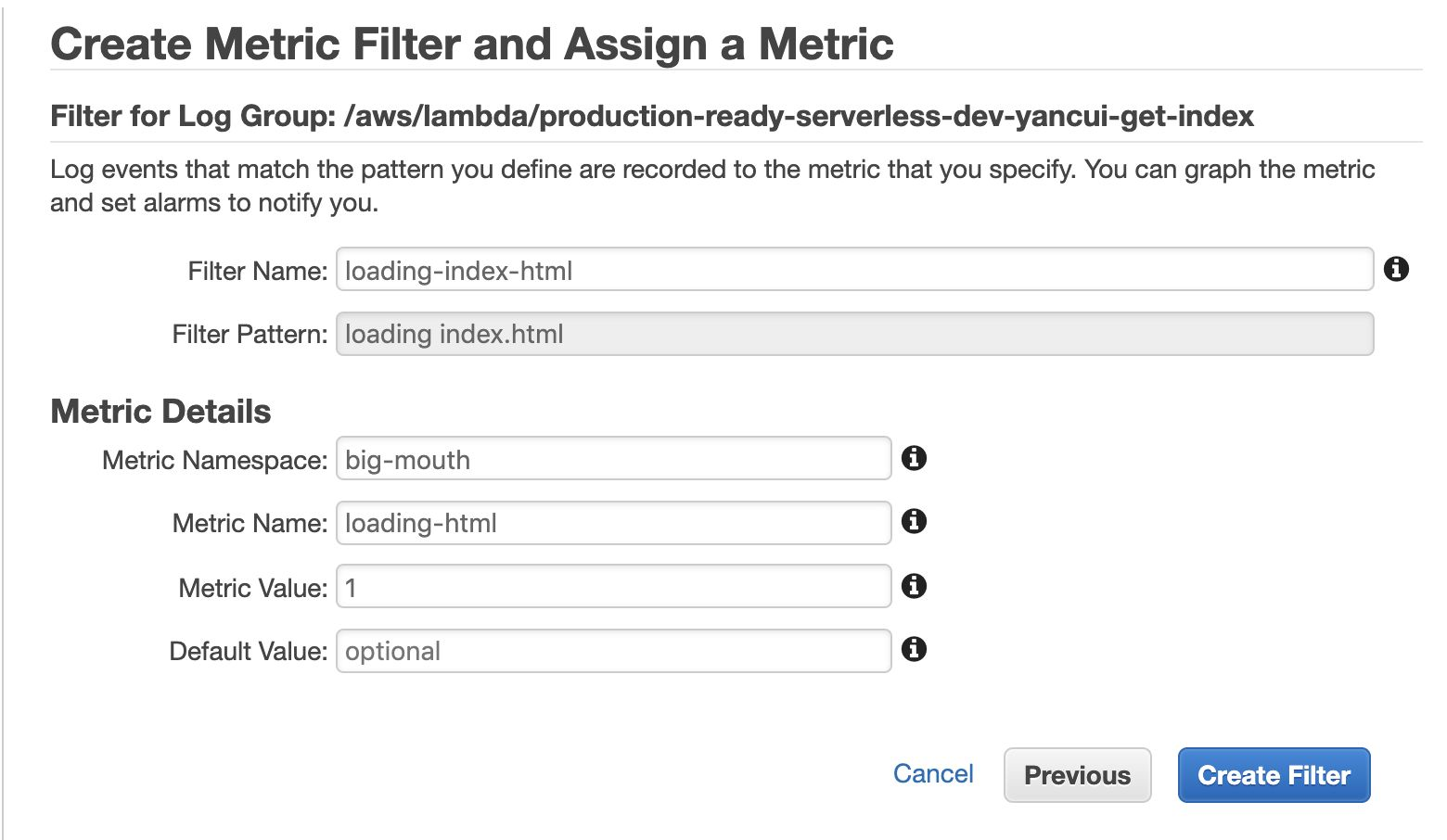 An image showing how a user assigns metrics to their chosen logs in CloudWatch Logs.