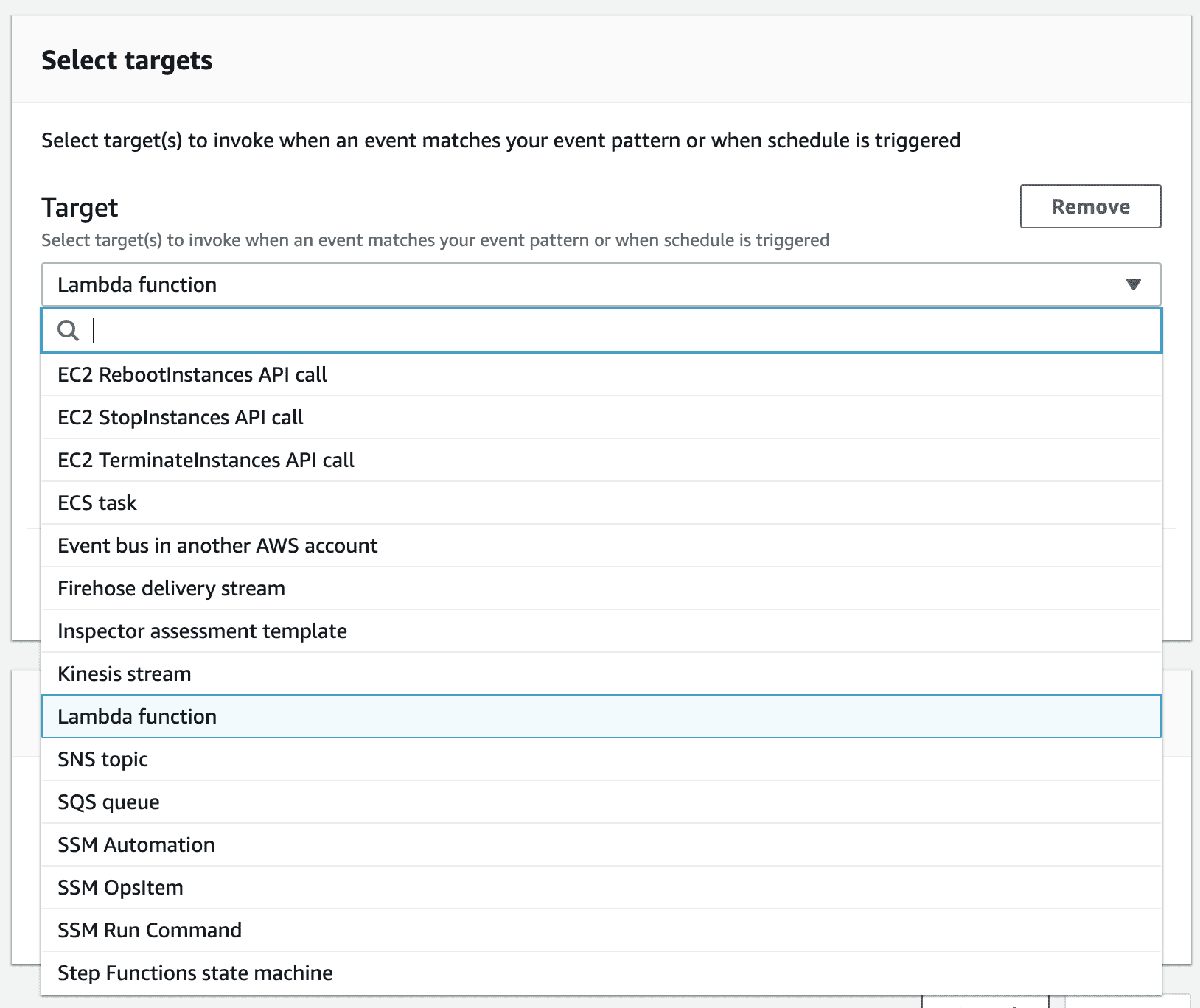 """An image of the """"Select targets"""" screen in AWS EventBridge."""