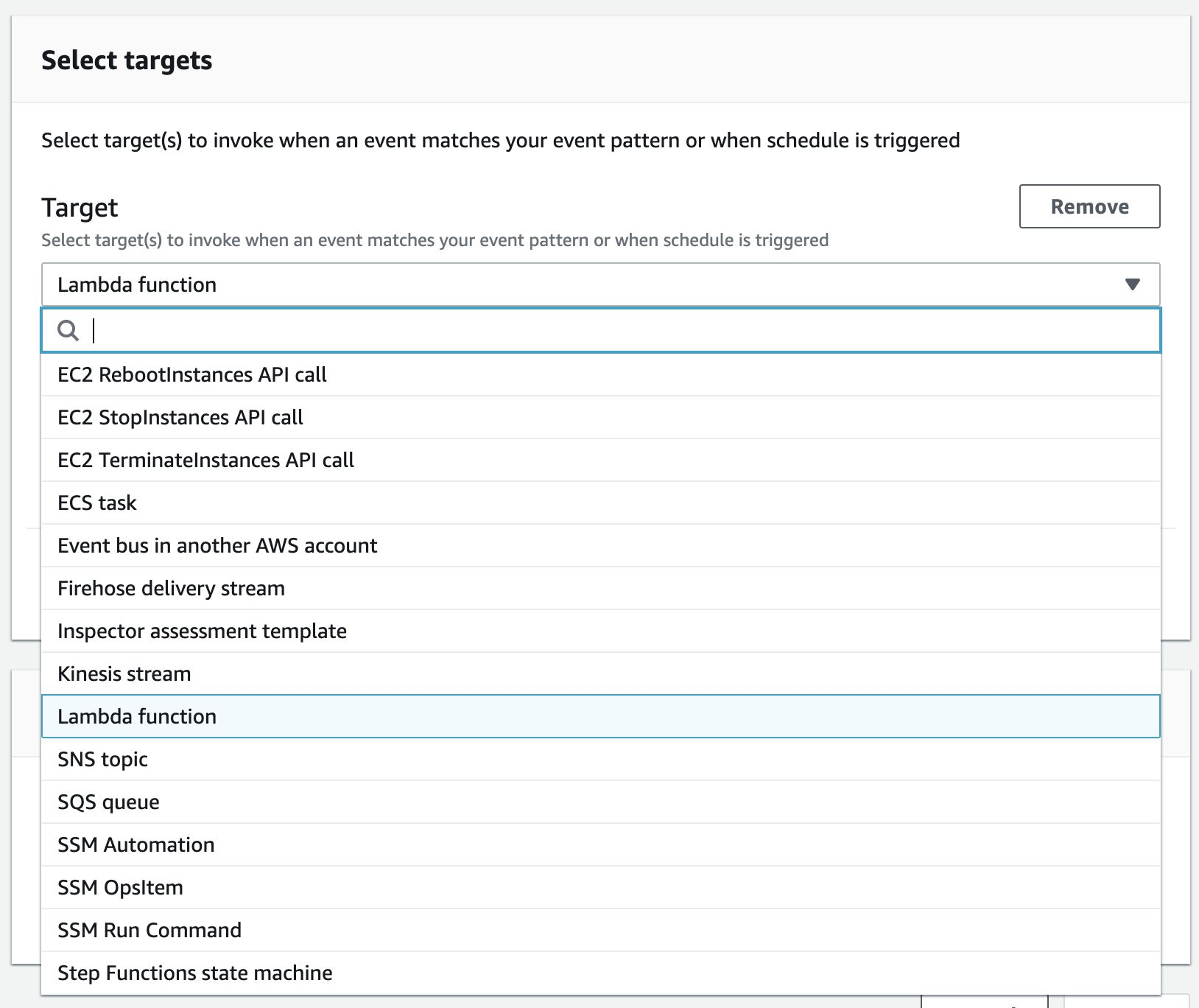 "An image of the ""Select targets"" screen in AWS EventBridge."