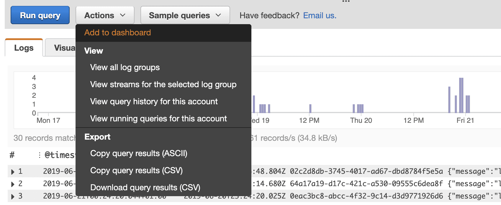 You can even visualize them in the CloudWatch Metrics dashboard.
