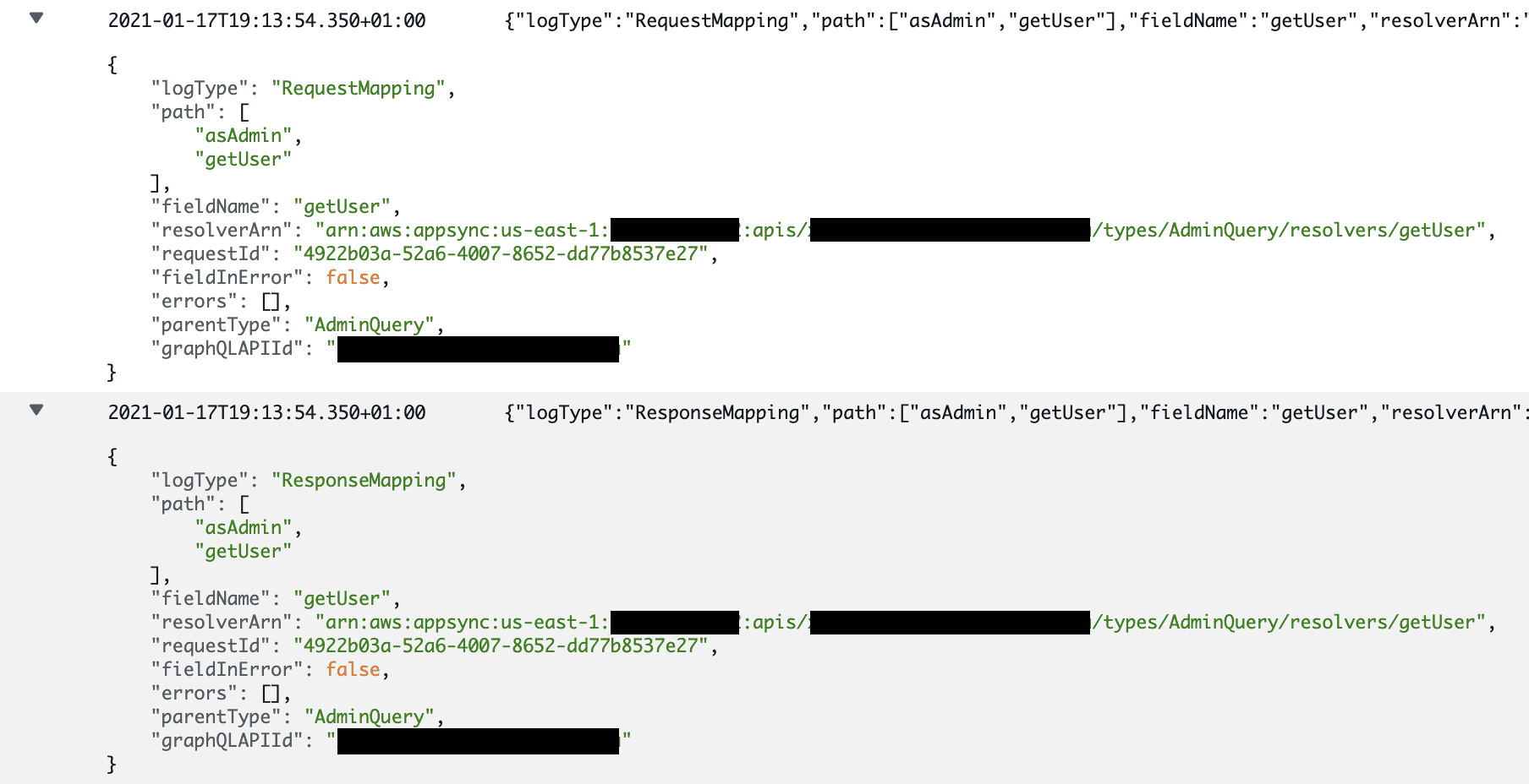 10 AppSync CloudWatch without verbose RequestMapping and ResponseMapping logs