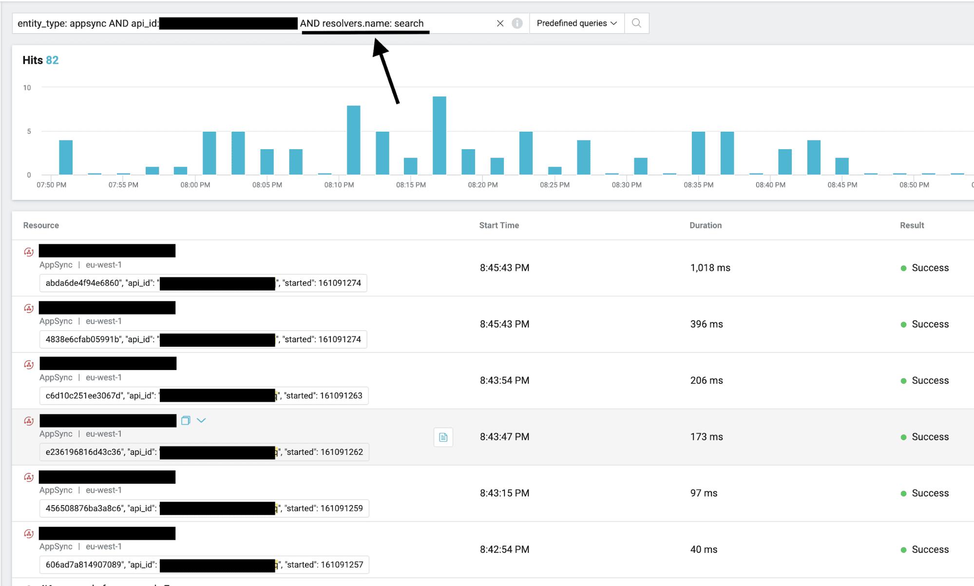 18 Lumigo AppSync search query