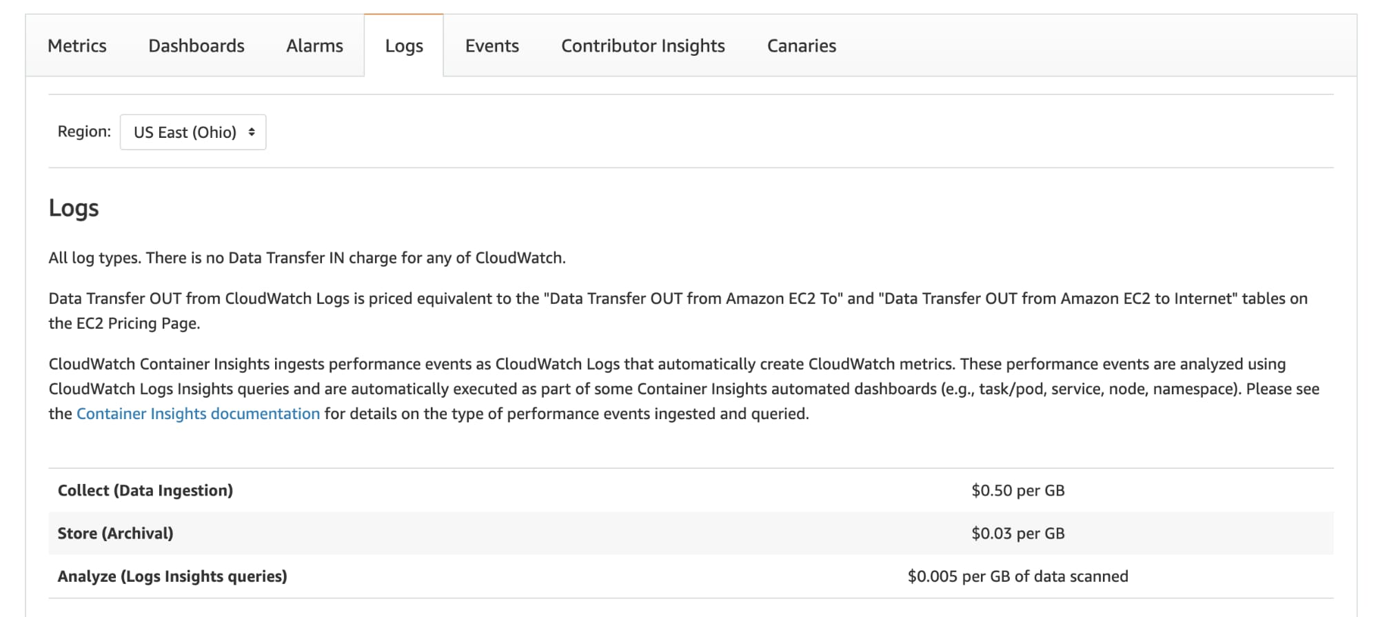 13 CloudWatch Logs costs for AppSync logs
