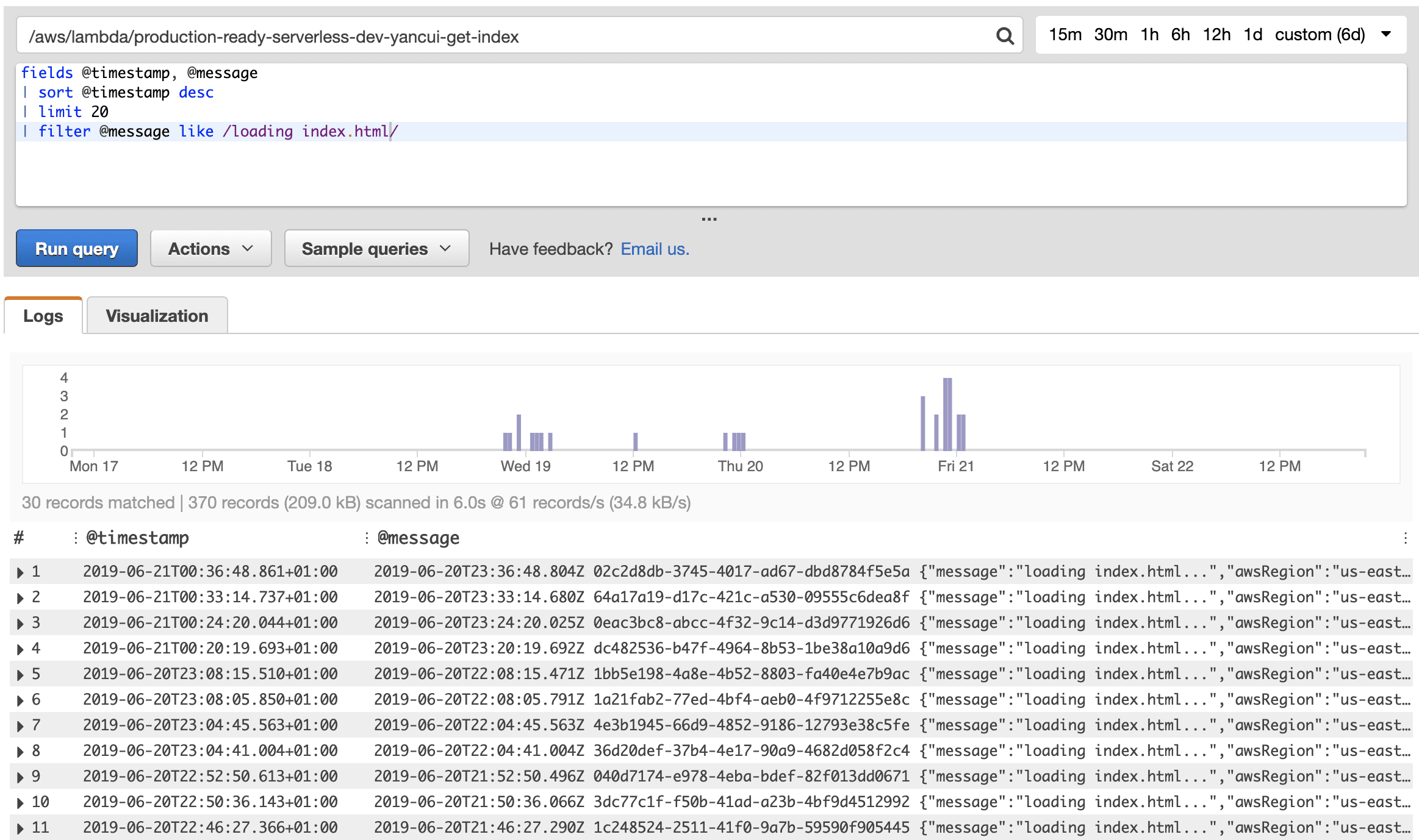 An image showing how CloudWatch Logs Insights allows you to write queries against CloudWatch Logs.