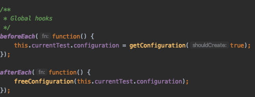 Once the test ends, the `afterEach` executes and frees the environment for the following tests.