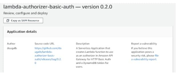 HTTP Basic Auth SAM resource