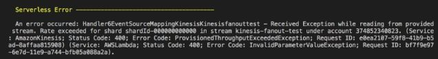After the first 15 functions were deployed and subscribed to the stream, attempts to deploy subsequent functions were met with ProvisionThroughputExceededException errors during deployment.