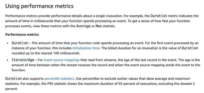 lambda performance metrics in cloudwatch