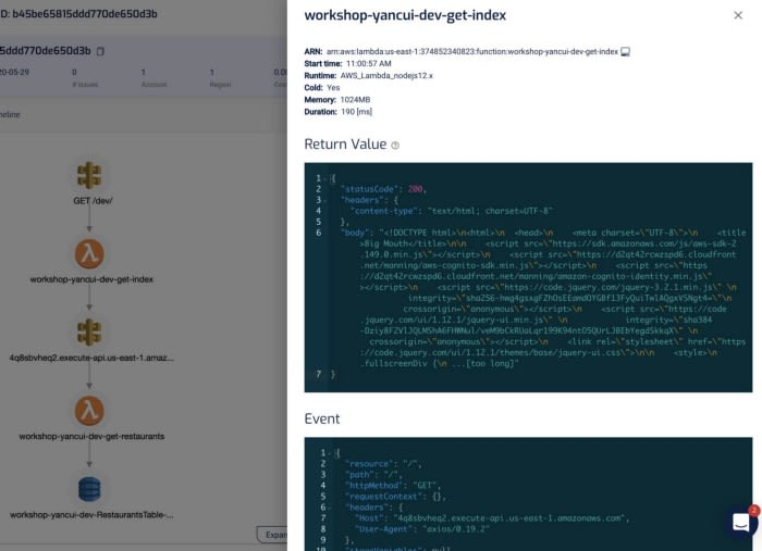 lumigo lambda invocation logs, request & response