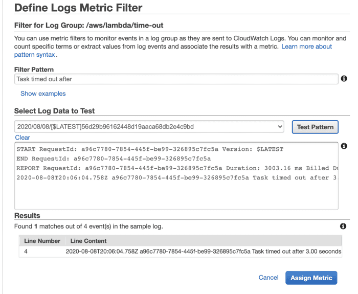AWS Lambda metric filters