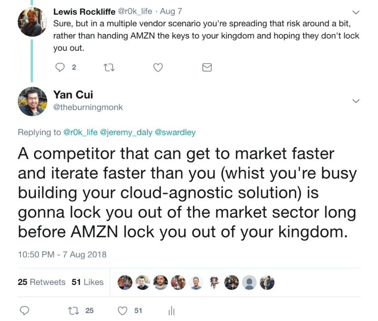Opting for a multi-cloud solution to guard against serverless vendor lock-in will make it much more difficult to get to market quickly, and that's the real worst case scenario.