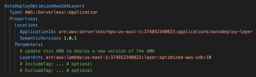 Using an AWS::Serverless::Application resource you can configure the deployment of the Lambda Layer to speed up your Lambda functions.