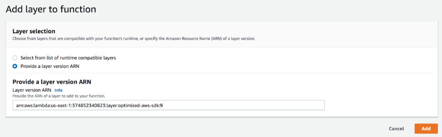 You can also add the Lambda Layer to your projects via the AWS Lambda console. This image shows how.