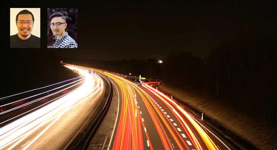 An image of speeding cars to represent accelerated development velocity