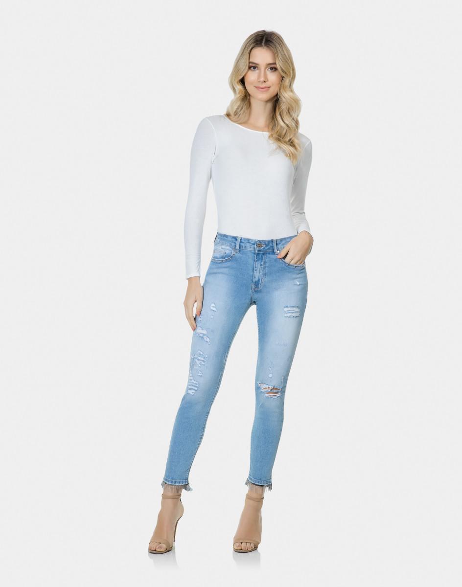 d6df467b6 Lez A Lez - Calça Skinny Cropped Bali Franjas Jeans ...