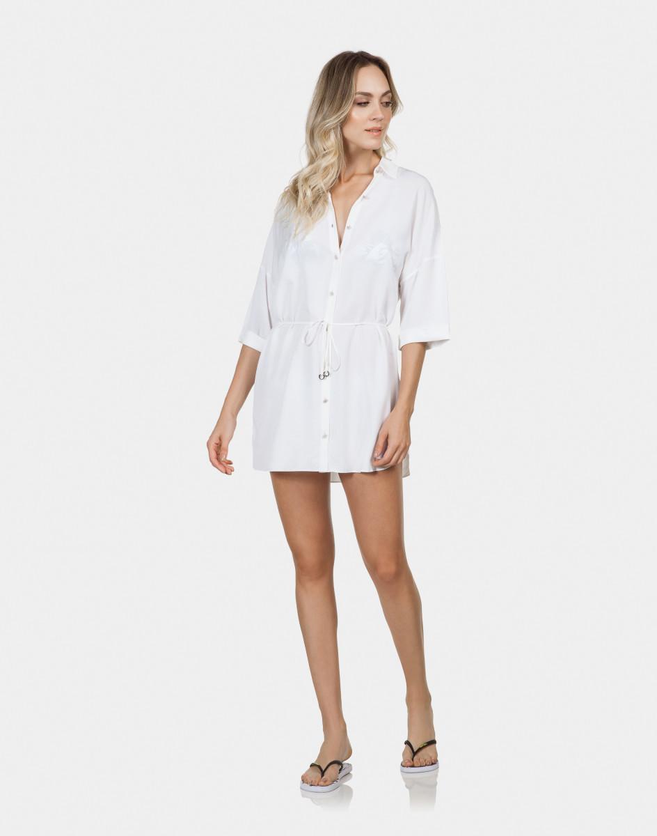 0bf4dbd7b Lez a Lez - Camisa Manga 3 4 Saída de Praia Branco Off White