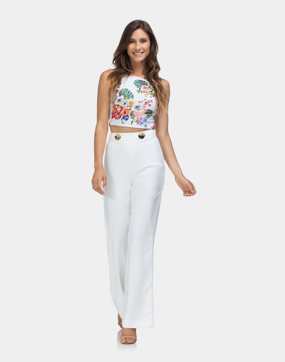 Lez A Lez - Calça Pantalona Cintura Alta Branco Off White Ll412-011015