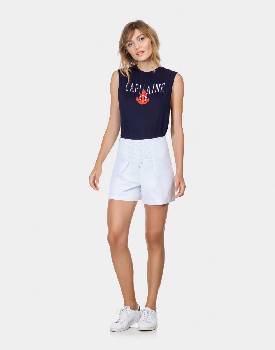 Lez A Lez - Shorts Amarração Tecido Tricoline Branco