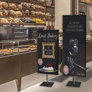 Classic Banner Stands with Black Finish Option