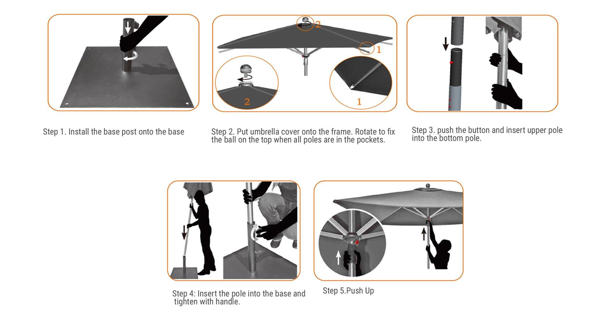 How to Assemble Custom Market Umbrellas