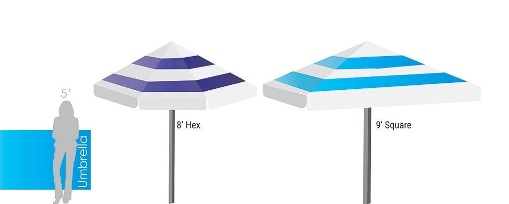Custom Market Umbrellas Size Chart