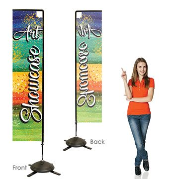 Rectangular Flag Banners Single Sided, Left Facing Option with Pole on the Right