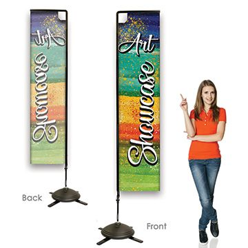 Rectangular Flag Banners Single Sided, Right Facing Option with Pole on the Left